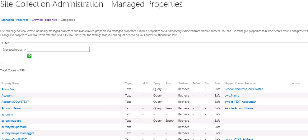 Managed & crawled properties admin in SharePoint 2013