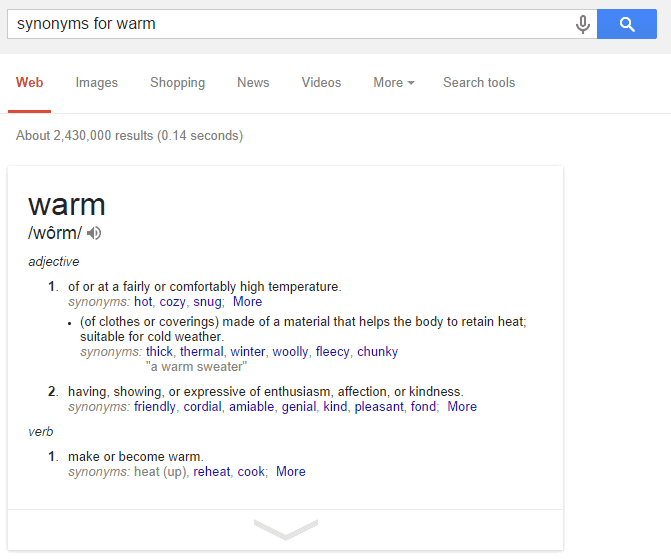Use a simple google query to grab a quick list of synonyms